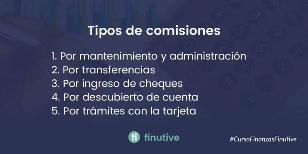 Tipos de comisiones bancarias